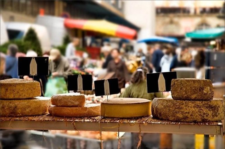 cheese at a farmer's market in the south of France
