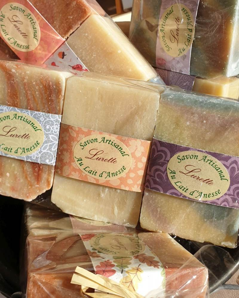 Bars of artisinal soap made with Donkey's milk.
