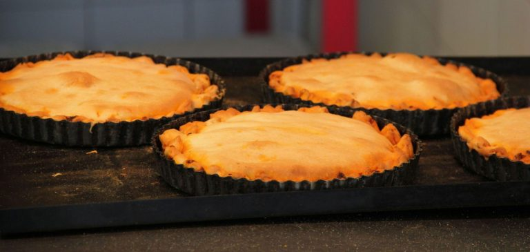Freshly baked octupus pie in an oven