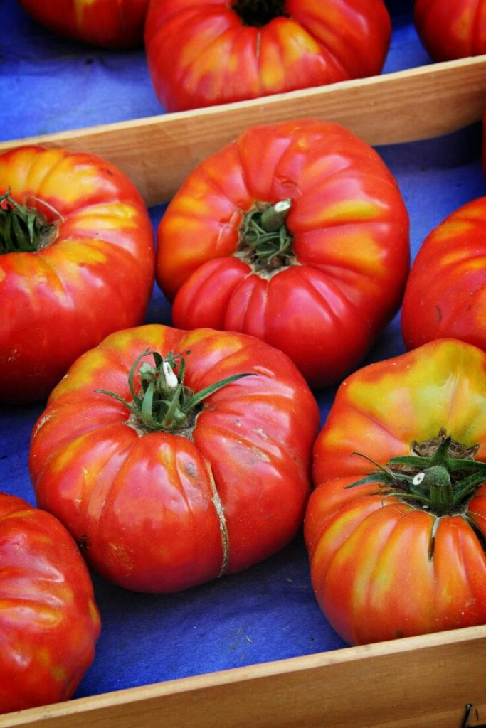 bright red tomatoes at a market