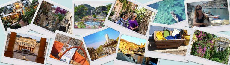 POLAROID shots of fountain, bougainvillia, mediterranean sailboat, cobbltsone streets, gardens, ceramics