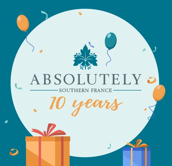 absolutely ten years with balloons and gift boxes