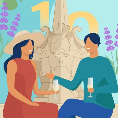 an illustration of a two people sitting in front of a fountain drinking champagne